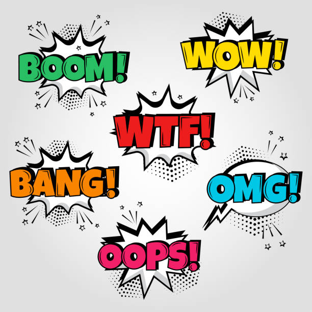set of comic speech bubbles with different emotions and boom, wow, wtf, bang, oops words. vector illustration. - sound effects stock illustrations, clip art, cartoons, & icons