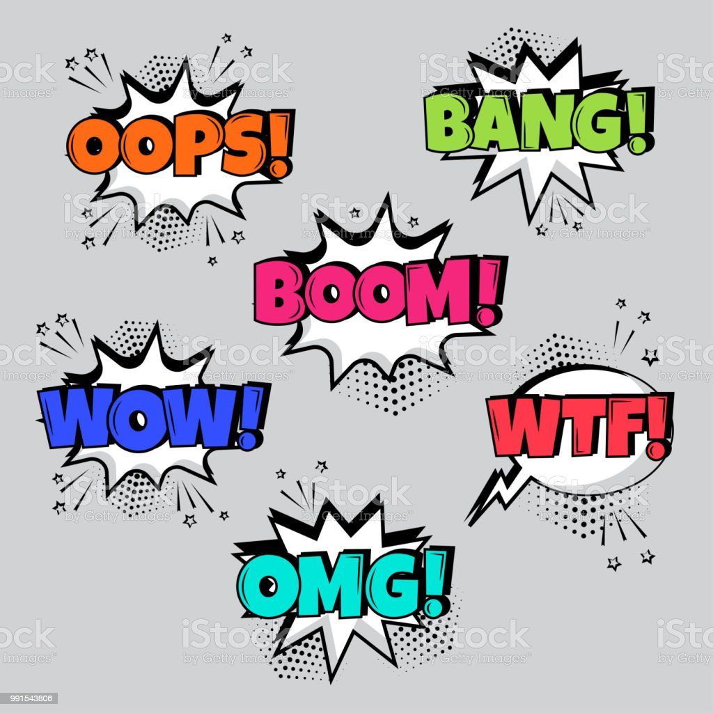 Set of comic speech bubbles with different emotions and Boom, Wow, Wtf, Bang, Oops words. Vector illustration. vector art illustration