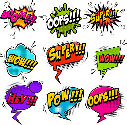Set Of Comic Style Speech Bubbles With Sound Text ...