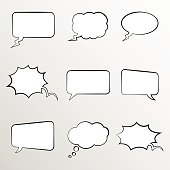 Set of comic style thought bubbles