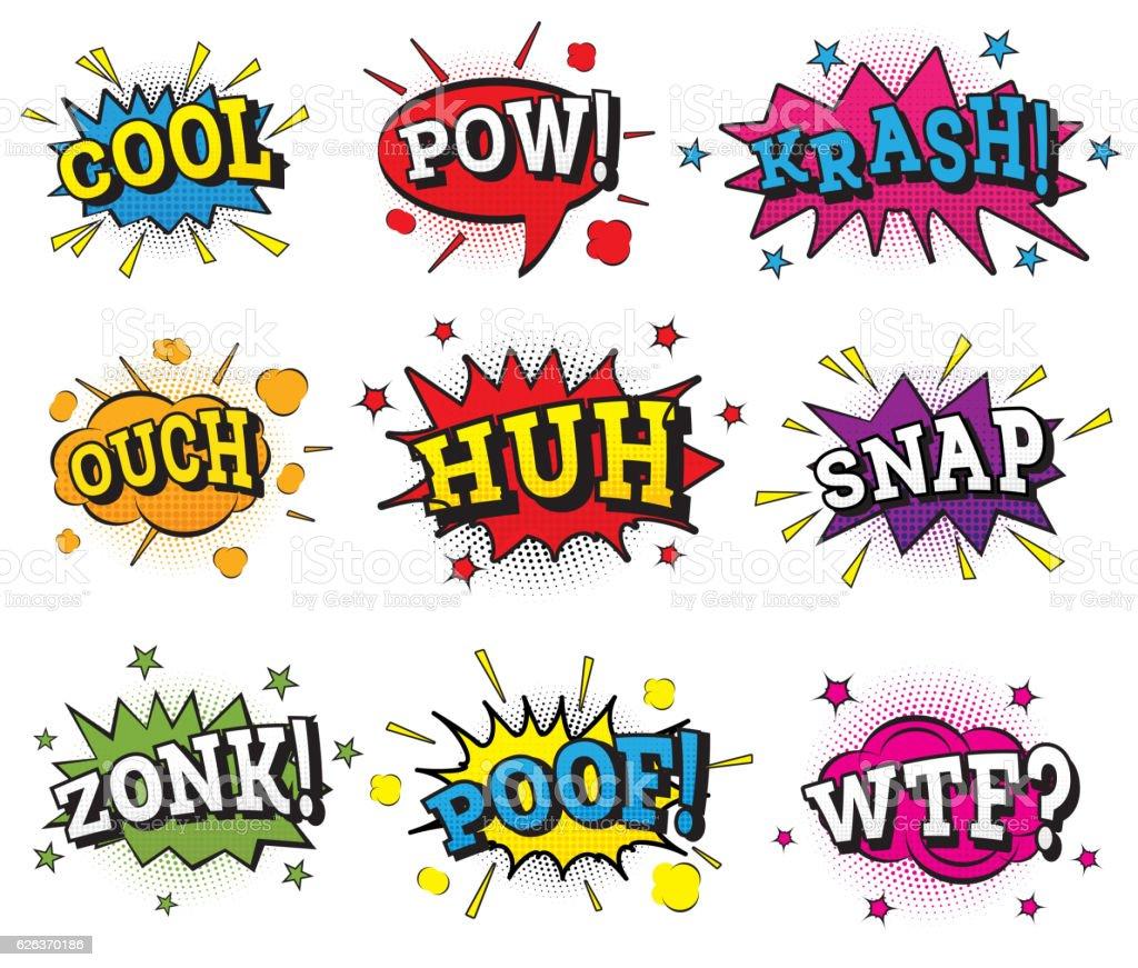 Set of Comic Text in Pop Art Style. vector art illustration