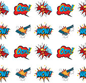 Set of Comic Text, Pop Art style seamless pattern. Design element in vector.