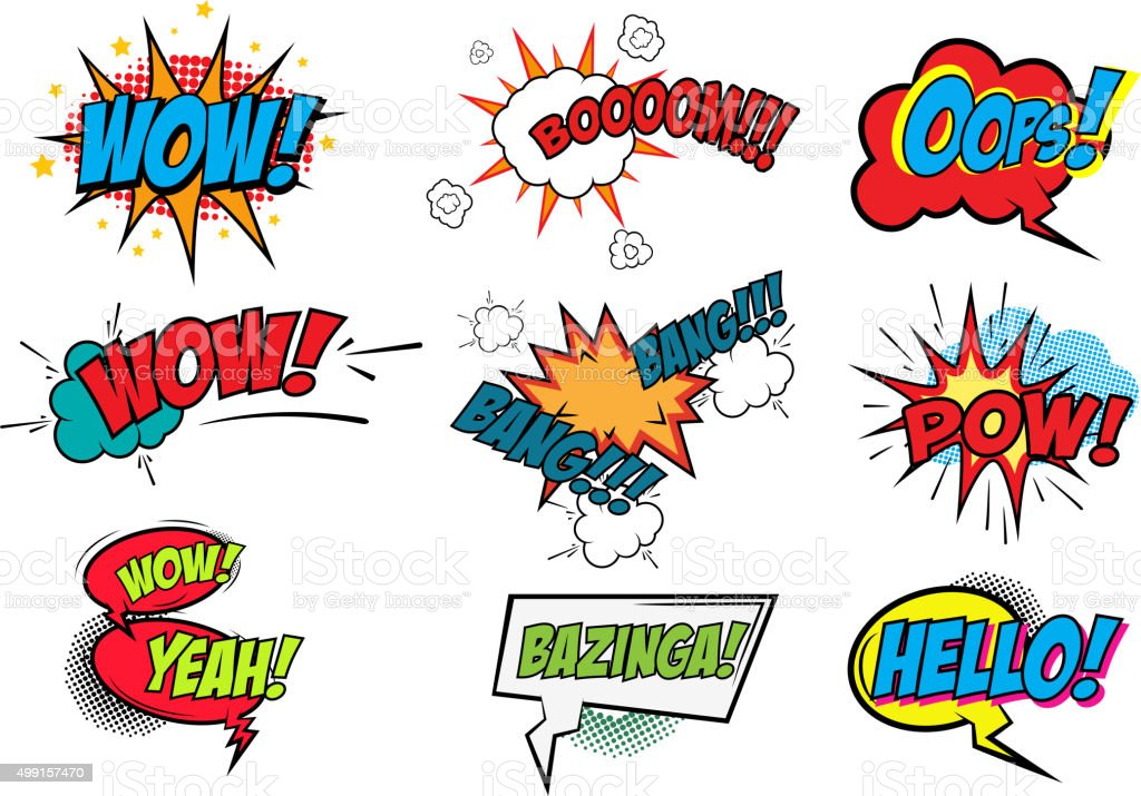 Set of Comic Text, Pop Art style vector art illustration