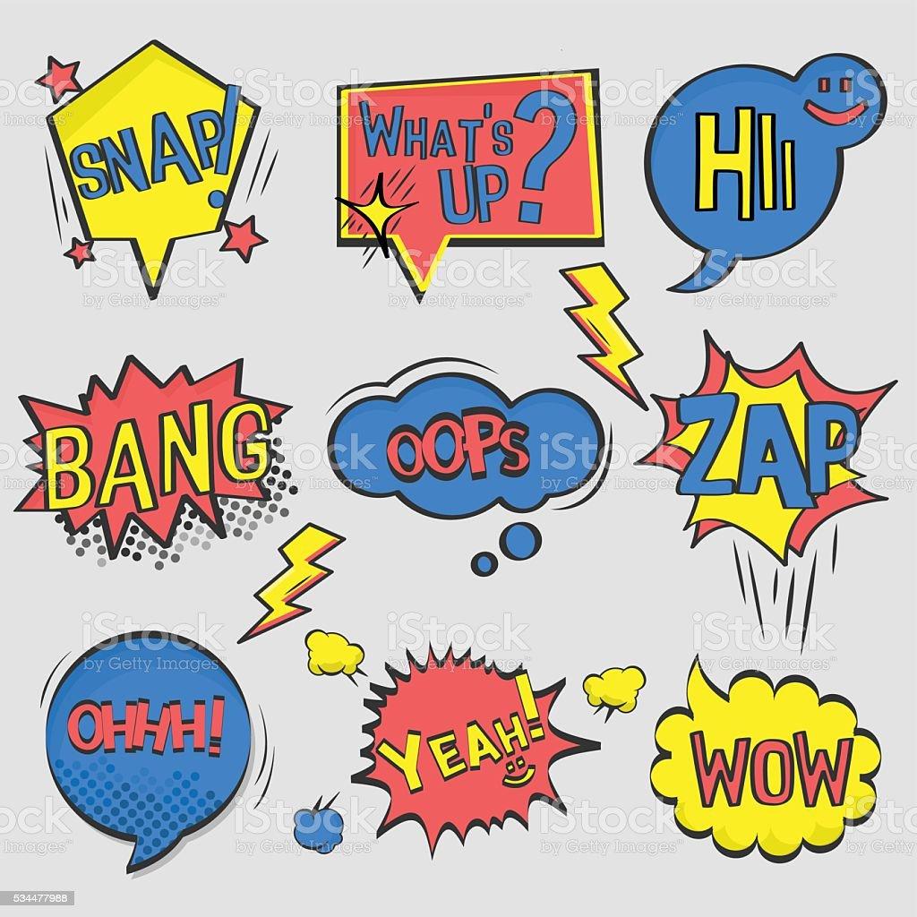 Conjunto de cómic texto, arte Pop estilo. - ilustración de arte vectorial