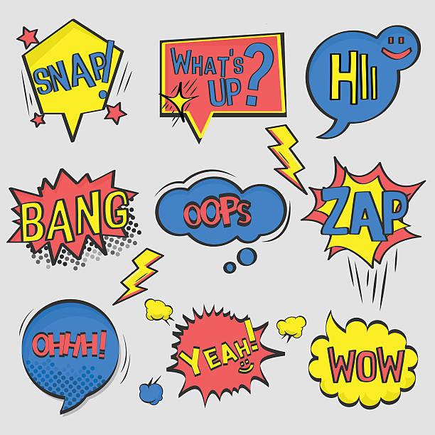 ilustrações de stock, clip art, desenhos animados e ícones de conjunto de banda desenhada texto, arte pop estilo. - músico popular