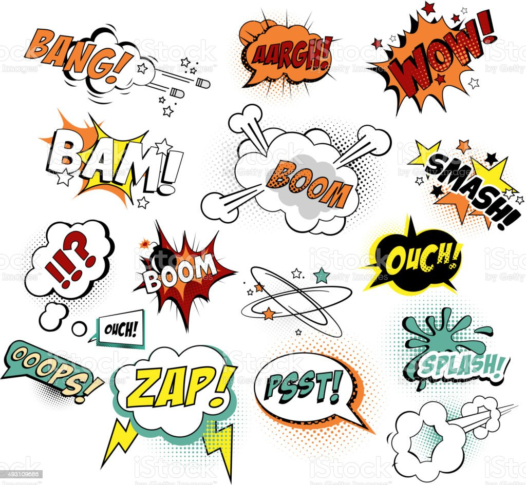 Set of Comic Text, Pop Art Style. Vector Illustration vector art illustration