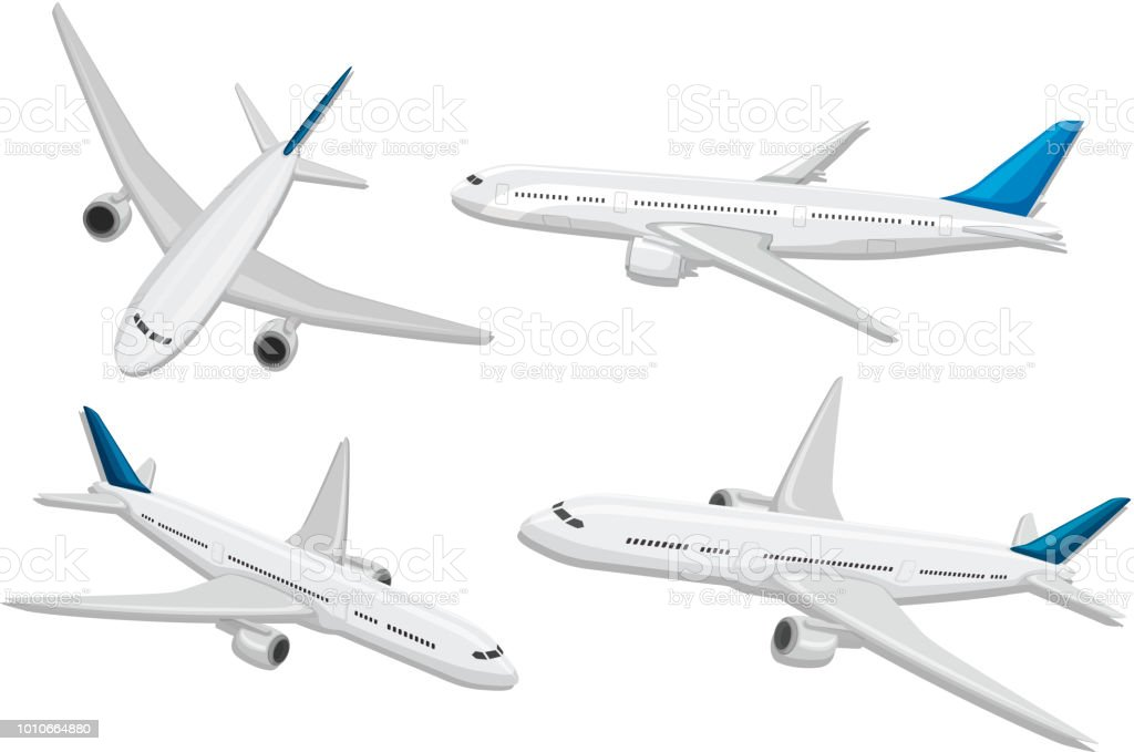 A set of commercial airplane vector art illustration