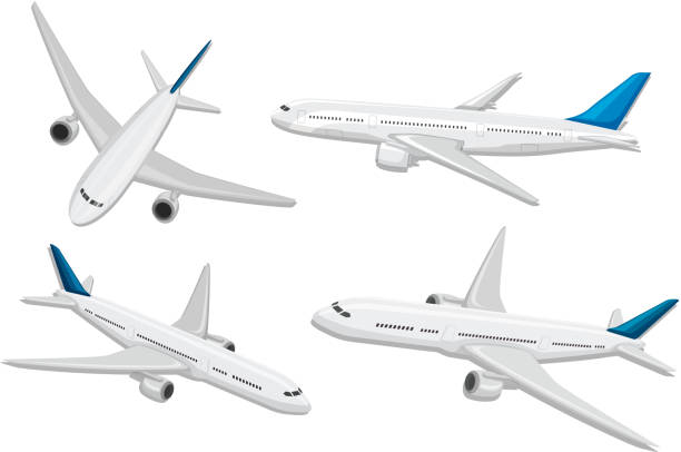 a set of commercial airplane - airplane stock illustrations, clip art, cartoons, & icons