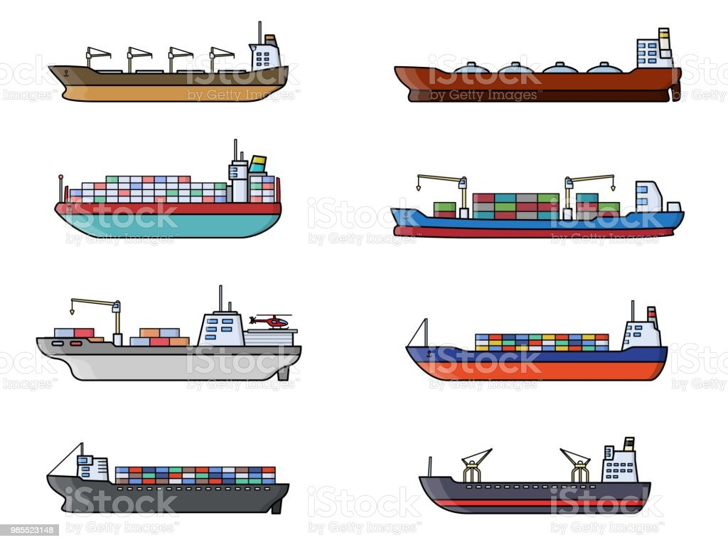 Set Of Commercial Cargo Ships Sea Transportation Vehicle
