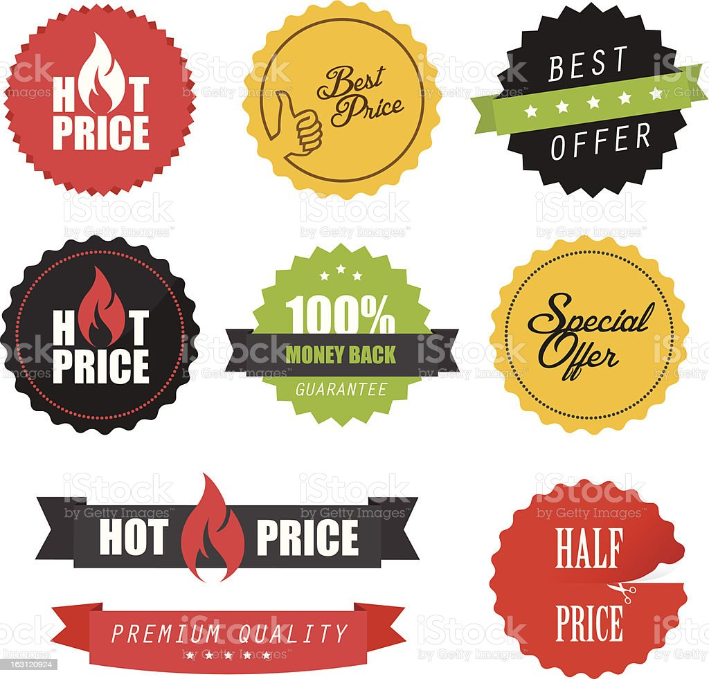 Set of commercial sale stickers and labels vector art illustration