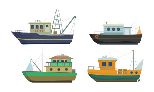 ilustrações de stock, clip art, desenhos animados e ícones de set of commercial sea fishing trawlers vessels. vector illustration in flat cartoon style. - embarcação comercial