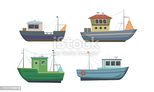 Collection set of commercial sea fishing trawlers vessels. Vintage ships for industrial seafood production. Isolated icons set illustration on a white background in cartoon style.