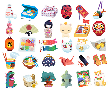 Set of common Japanese items, souvenirs and elements traditionaly associated with Japan.