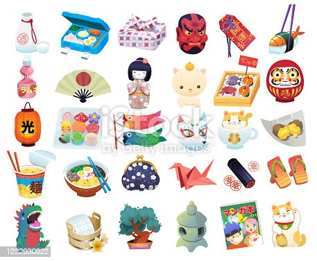 istock Set of common Japanese items, souvenirs and elements traditionaly associated with Japan. 1222030822