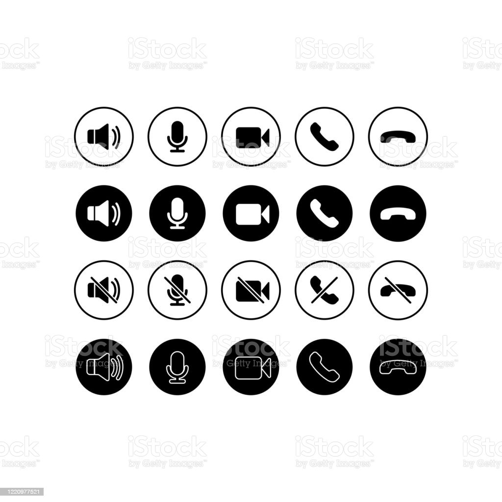 Ensemble d'icônes de communication. Téléphone, son, microphone, appareil photo, symboles d'appel sur fond blanc isolé pour les applications, web, application. EPS 10 vecteur - clipart vectoriel de Affaires libre de droits
