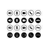 Set of communication icons. Phone, sound, microphone, camera, call symbols on isolated white background for applications, web, app. EPS 10 vector.