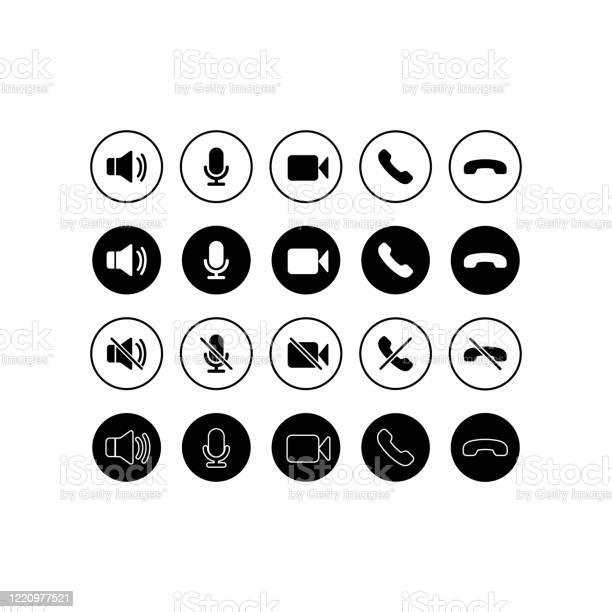 Ensemble Dicônes De Communication Téléphone Son Microphone Appareil Photo Symboles Dappel Sur Fond Blanc Isolé Pour Les Applications Web Application Eps 10 Vecteur Vecteurs libres de droits et plus d'images vectorielles de Affaires