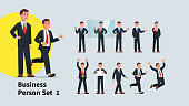 Set of company representative or speaker poses. Collection of actions and gestures of business man. Manager or businessman standing, giving presentation, celebrating success. Flat vector illustration