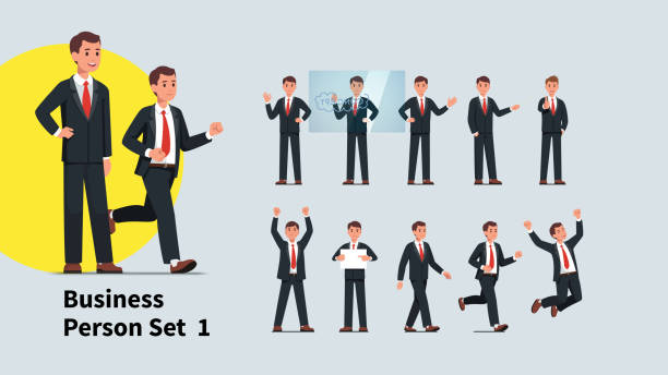 illustrazioni stock, clip art, cartoni animati e icone di tendenza di set of company representative or speaker poses. collection of actions and gestures of business man. manager or businessman standing, giving presentation, celebrating success. flat vector character illustration collection - business man
