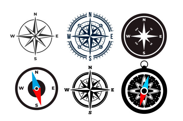 zestaw ikon kompasu w prostej konstrukcji. płaski element konstrukcyjny. ilustracja wektorowa. odizolowane na białym tle. - compass stock illustrations
