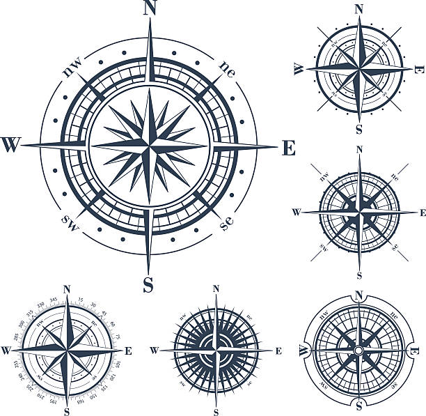 bildbanksillustrationer, clip art samt tecknat material och ikoner med set of compass roses isolated on white - norr