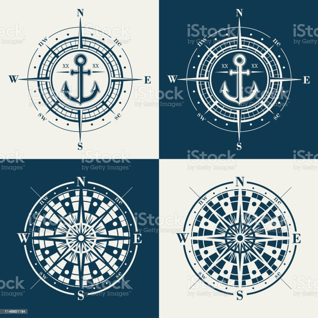 Set of isolated marine wind roses silhouettes. Compass vector...