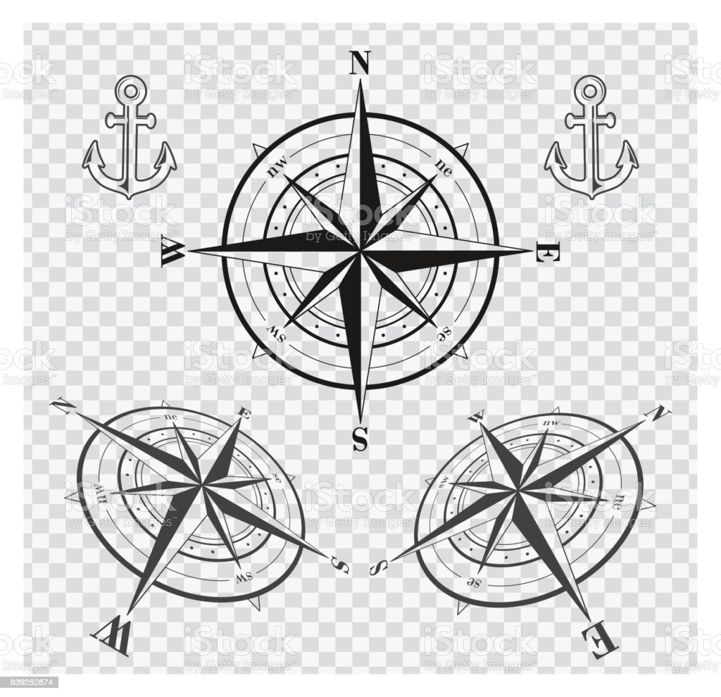 Set of compass roses or wind roses vector art illustration