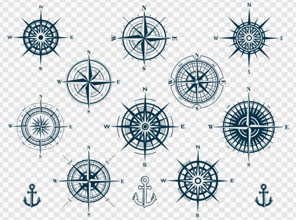 set of compass roses or wind roses - compass stock illustrations