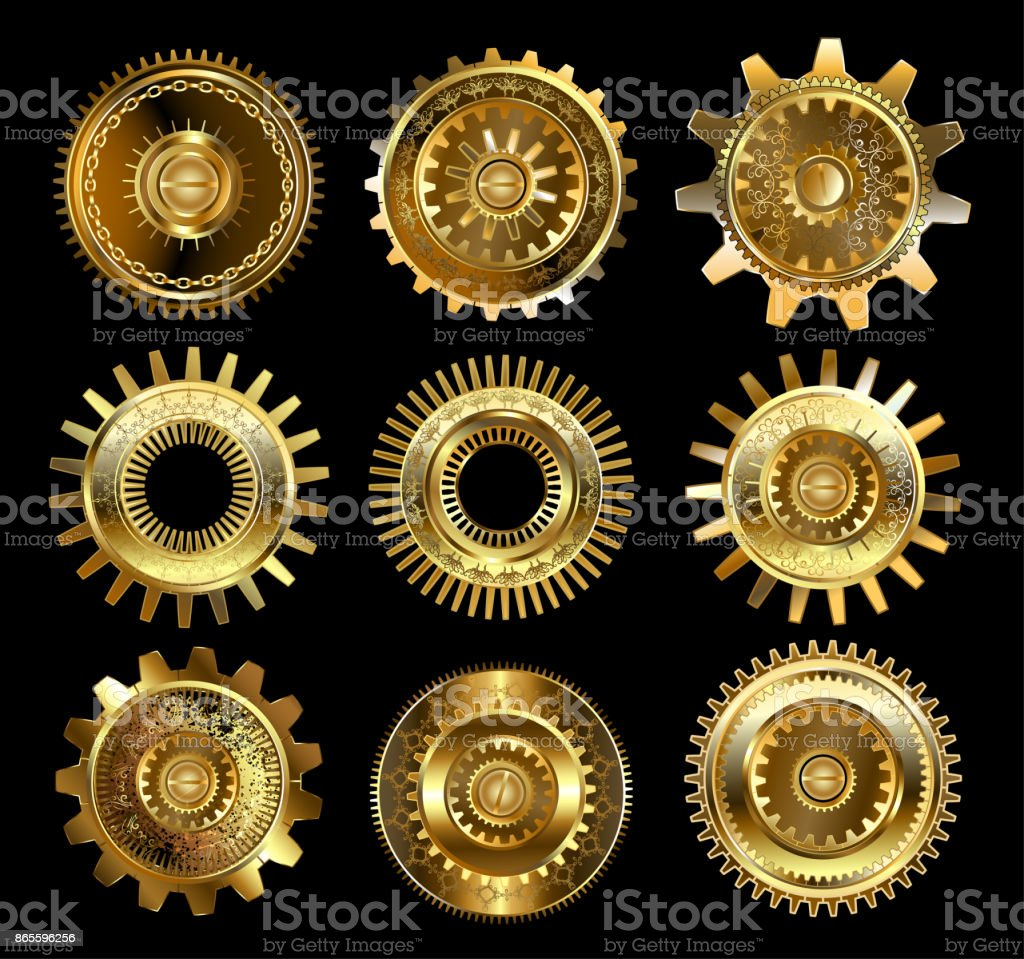 Set of complex gears vector art illustration