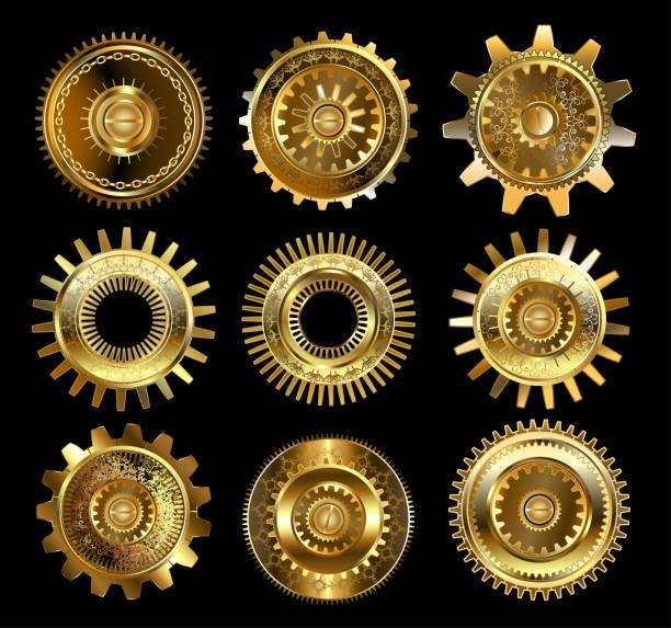 satz von komplexen getriebe - steampunk stock-grafiken, -clipart, -cartoons und -symbole