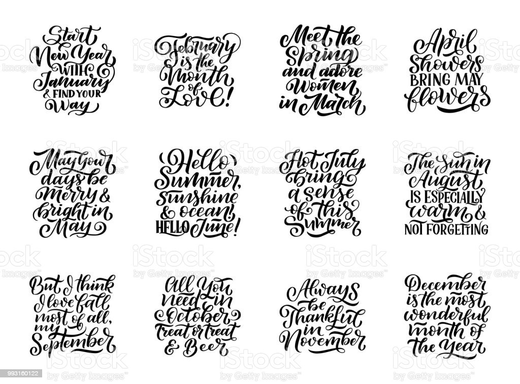 set of compositions for every months calendar template hand drawn