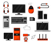 Set of computer accessories and peripheral. Big collection of smart computer accessories. Isolated on white background. Website page and mobile app design