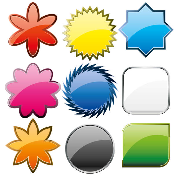Set of computer web button icons, part 22 vector art illustration