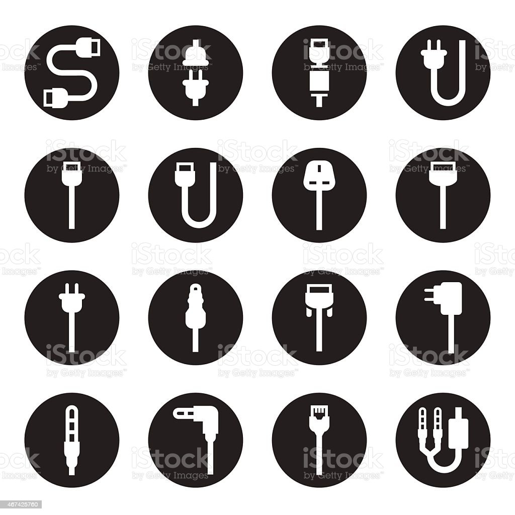 Set of computer wire and electrical plug cable icons vector art illustration