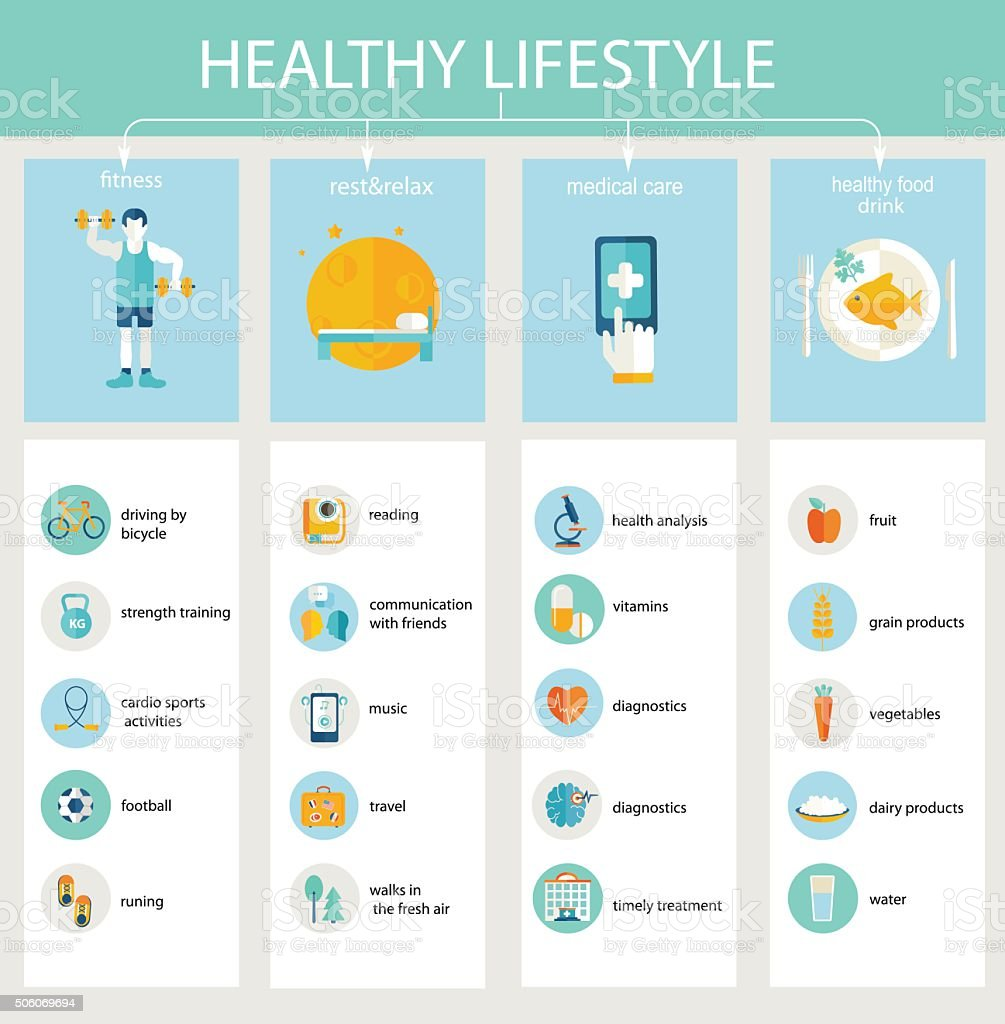 Set of concept icons healthy lifestyle. vector art illustration
