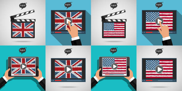 Set of Concept learning languages. Study English. Set of Concept of learning languages. Study English. Movie production clapper board and screen with hand drawn American and Britain flags. Film in English. Anglo American stock illustrations