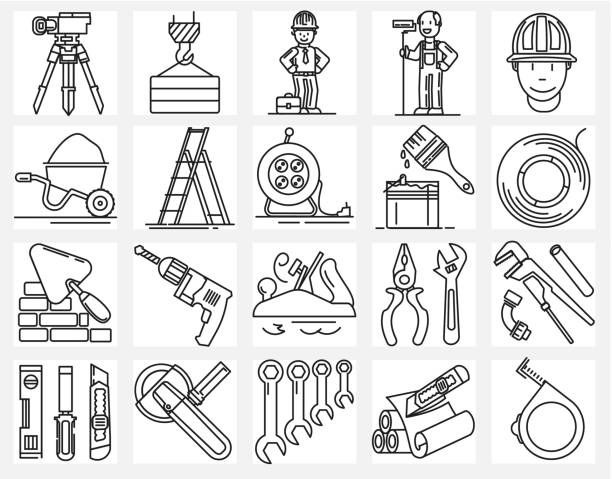 illustrations, cliparts, dessins animés et icônes de ensemble d'icônes de ligne concept construire des outils - rallonge électrique