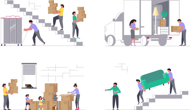 Set of Concepts for moving company Set of Concepts for Transport company isolated on white background. Moving truck with movers carring a sofa and cardboard boxes. Moving House and office. Vector illustration carrying stock illustrations