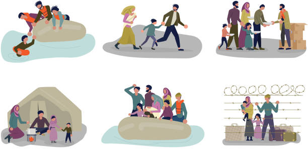 Set of concepts of Migrant people in different situations. Set of concepts of Migrant people in different situations. Refugees get into Europe isolated on white background. Vector Illustration hungry child stock illustrations
