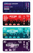 Set of concert ticket templates. Concert, party or festival ticket design template with people crowd on background. Creative ticket mockup for entrance to event. Vector