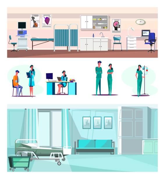 bildbanksillustrationer, clip art samt tecknat material och ikoner med uppsättning av säker labb arbetare, läkare och sjuksköterskor - sjukhusavdelning