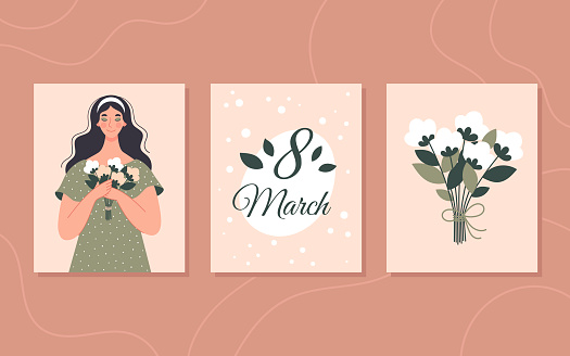 Set of congratulatory spring cards for Women's Day, March 8. Pink square card with an inscription. Vector illustration