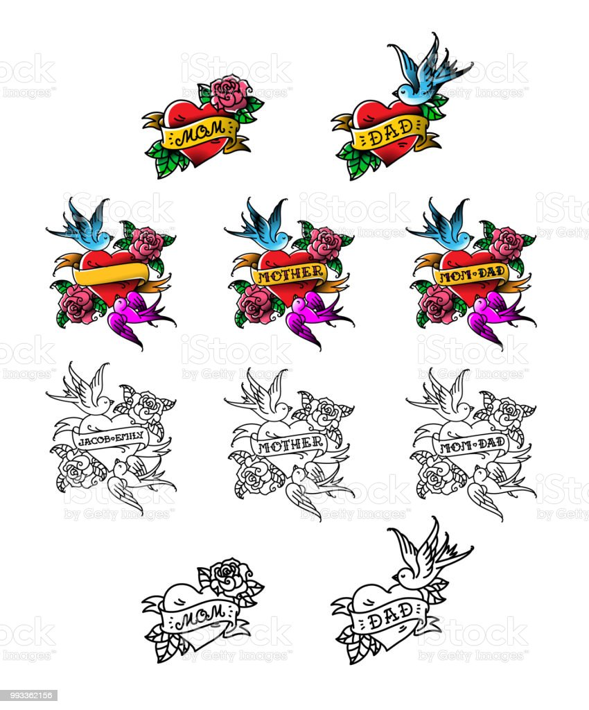 A set of congratulatory tattoos for mom and dad. Heart with birds and flowers. Recognition of love for parents. Templates for tattoos for names. Vector illustration. American old school. vector art illustration