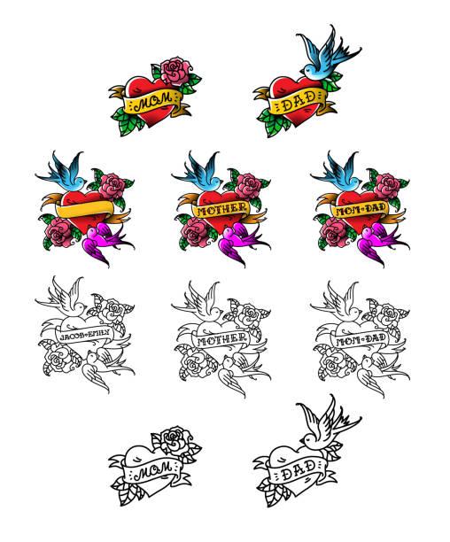 illustrations, cliparts, dessins animés et icônes de un ensemble de tatouages félicitations pour maman et papa. coeur avec des fleurs et des oiseaux. reconnaissance de l'amour pour les parents. modèles pour les tatouages pour les noms. illustration vectorielle. american old school. - tatouage