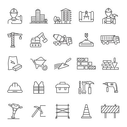 Set of Construction and Architecture Related Line Icons. Editable Stroke. Simple Outline Icons.