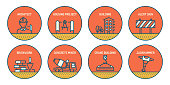 Set of Construction and Architecture Related Line Icons. Simple Outline Icons.
