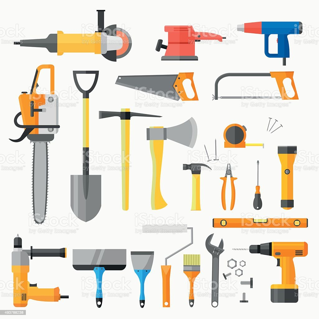 set of construction and power electric tools stock vector art
