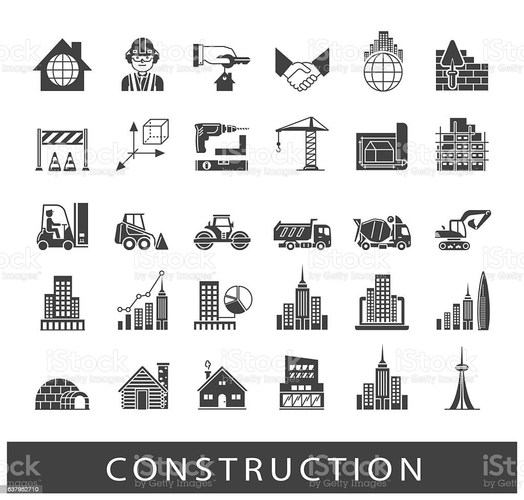 Set of construction icons vector art illustration