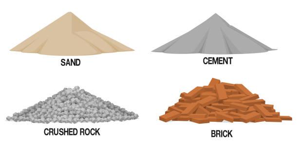 ilustraciones, imágenes clip art, dibujos animados e iconos de stock de conjunto de materiales de construcción (arena, cemento, ripio, ladrillo) sobre fondo transparente - arena