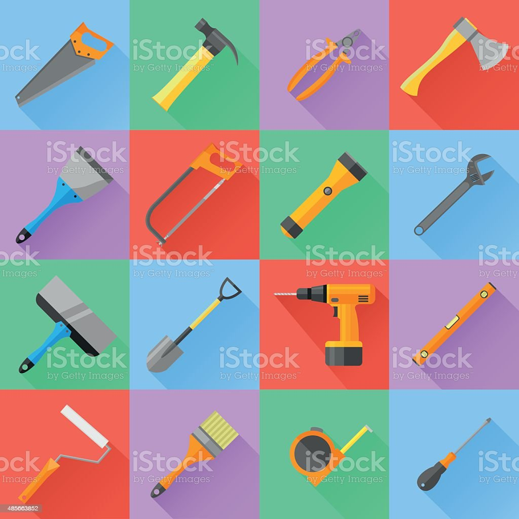 Set of construction tools. Flat style vector icons. vector art illustration